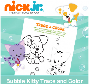 Printable Bubble Kitty Trace & Color