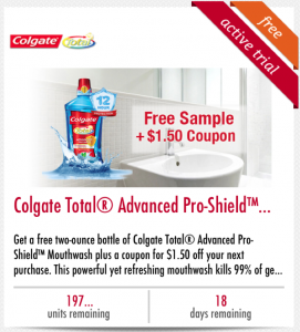 Free Sample Of Colgate Advanced Pro-Shield Mouthwash + $1.50 Coupon