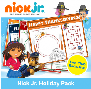 Free Printable Nick Jr. Holiday Place Setting Pack