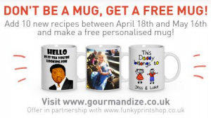Free Gourmandize Mug When You Add 10 Recipes
