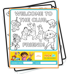 Free Printable Nick Jr. Fan Club Kit