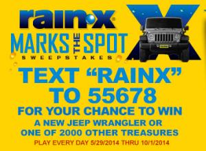 Rain-X 'X Marks the Spot' Instant Win Game