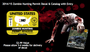Free Zombie Hunting 2014/2015 Permit Sticker + Catalog + Contest