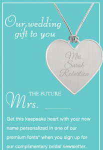 Free Engraved Keepsake Heart From Things Remembered