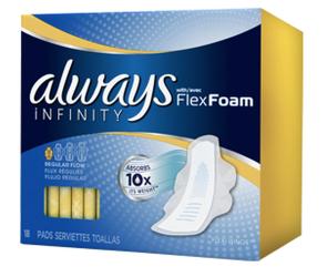 Free Sample Of Always Infinity Flex Foam