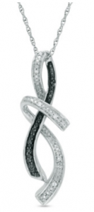 Enter To Win A Black and White Diamond Abstract Infinity Pendant in Sterling Silver
