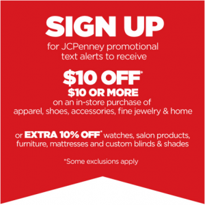 Free JCPenney $10 off $10 or More Coupon
