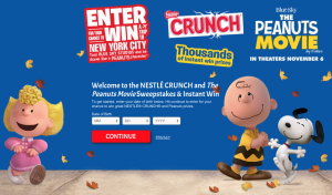 Nestlé Crunch and The Peanuts Movie Sweepstakes and Instant Win