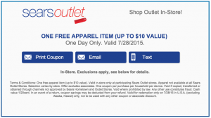 Free Piece Of Clothing At Sears Outlet (Up To $10) On 07/28