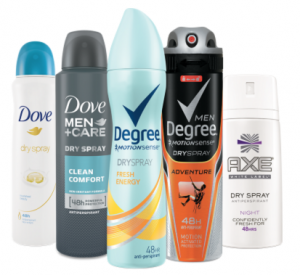 Free Sample Of Unilever Dry Spray Antiperspirant