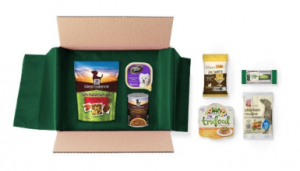 Dog Food and Treats Sample Box From Amazon After Credit