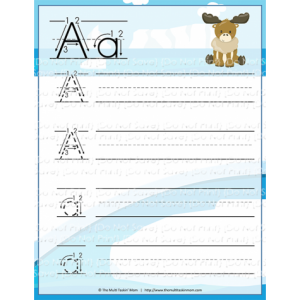 Downloadable Freebie From Educents - Arctic Animals Handwriting Practice - Manuscript