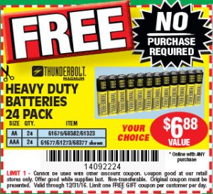 Free 24 pack Of Batteries from Harbor Freight