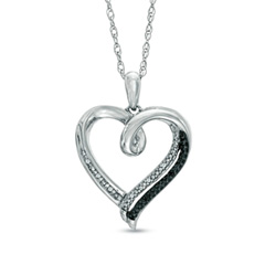 Enter To Win A Black and White Diamond Accent Heart Pendant in Sterling Silver