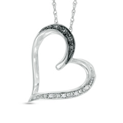 Enter To Win A Black and White Diamond Accent Tilted Heart Pendant in Sterling Silver