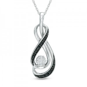Win a Black and White Diamond Accent Cluster Infinity Pendant in Sterling Silver
