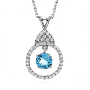 Enter To Win A 1 Ct. Blue Topaz and White Sapphire Necklace in Sterling Silver with Chain