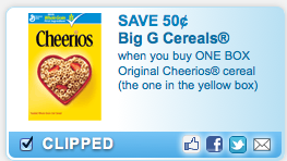 image about Cheerios Coupons Printable identified as Printable Coupon: $ .50 Off 1 Box Of Cheerios JustFreeStuff