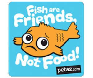"""Free """"Fish Are Friends, Not Food"""" Stickers"""