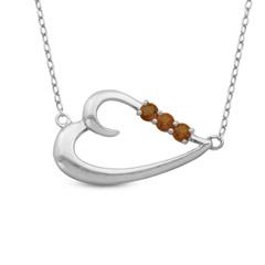 Win a Garnet Sideways Heart Necklace in Sterling Silver