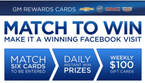 The GM Rewards Cards Match To Win Memory Card Game