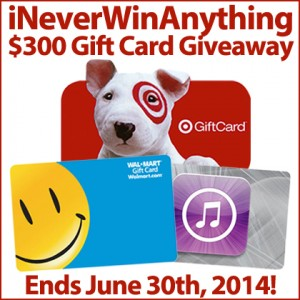 iNeverWinAnything $300 Gift Card Giveaway