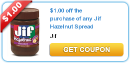 Printable Coupon: $1.00 off the purchase of any Jif Hazelnut Spread