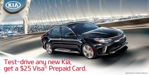 Test Drive A New Kia And Get A Free $25 Visa Pre-Paid Card