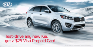 Test Drive Any New Kia And Get A $25 Visa Prepaid Card