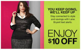Lane Bryant: $10 Off = Free Item!