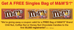 Free Bag Of M&M's For The First 50,000