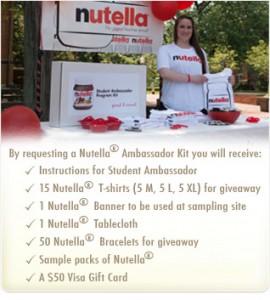 Free Nutella Ambassador Kit For College Students