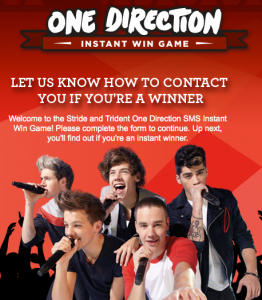 One Direction Instant Win Game
