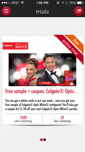 Free Colgate Optic White Toothpaste + Coupon