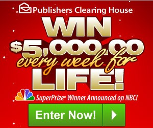 Publisher's Clearing House $5,000 A Week For Life Giveaway