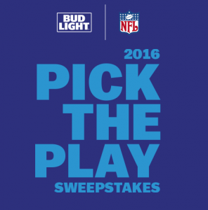 Bud Light 2016 NFL Pick The Play Sweepstakes