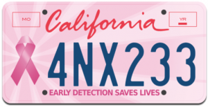 Free Pink Ribbon License Plate - California Only