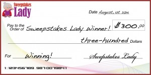 Sweepstakes Lady $300 Cash Giveaway