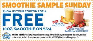 Free 10 oz. Smoothie At White Castle On May 24