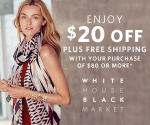 WhiteHouseBlackMarket $20 Off Code + Free Shipping