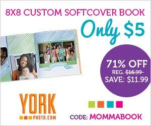 York Photo 8x8 Mother's Day Custom Soft Cover Book only $5