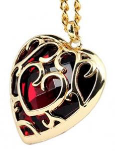 Free Legend of Zelda Skyward Sword Red Heart Pierced Necklace Anime Costume Red